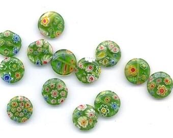 Thirteen millefiori lampwork glass beads - transparent green flat rounds - 12.5 mm