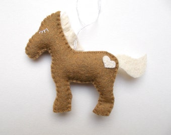 Horse ornament handmande felt decoration - Christmas/Housewarming home decor - Baby shower - eco friendly animals