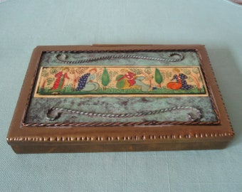 Brass Trinket Jewelry Box Memorabilia Souvenir Jerusalem d695