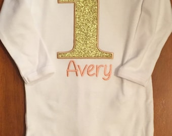 Peach and Gold Birthday Shirt or Baby Bodysuit