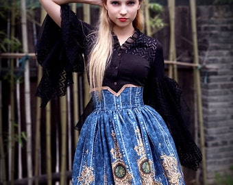 Exclusive Designer Fashion, Neo-ludwig Ten O'Clock Cinderella, Rococo Lolita Elegant Gothic Steel Boned High Waist Skirt
