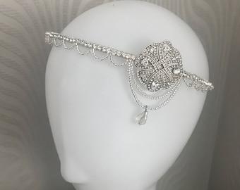 Great Gatsby Bridal headband - Downtown Abbey headband - 1920s style art deco flapper headdress - Great Gatsby Headdress - Weddi
