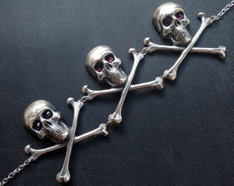 Skull necklace silver womens skull and crossbones choker gothic jewelry halloween jewelry