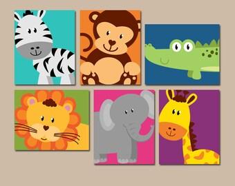 JUNGLE Animal Wall Art, Jungle Animal Nursery Decor, Canvas or Prints, Gender Neutral Nursery Art, Jungle Animals PLAYROOM Decor, Set of 6