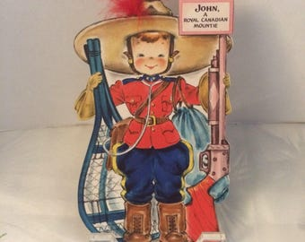 Vintage Hallmark Paper Doll Card, The Land of Make Believe, No 22, JOHN, A Royal Canadian Mountie, Vivian Trillow Smith