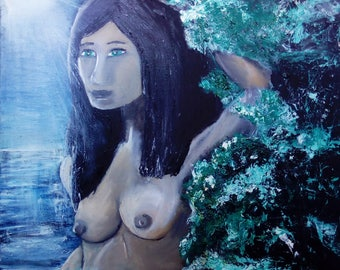 The oil painting, woman in the Moonlight, oil on canvas cotton 53 * 60 cm