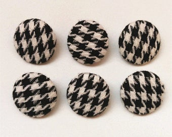 Fabric Cover Button Black And White Clothing Button Shank Sewing Button 22mm