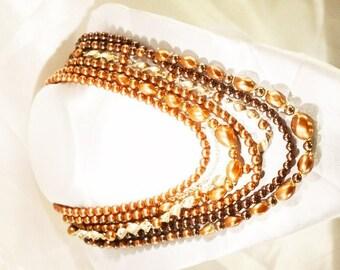 Vintage Multi Strand Copper Tone Necklace