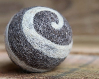 felted wool ball - charcoal with ivory swirl