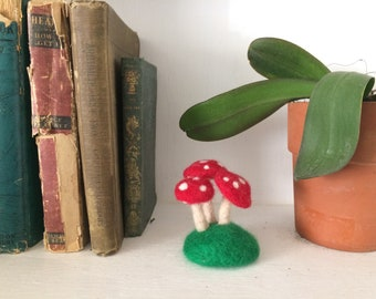 Felted wool toadstool cluster