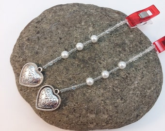 ADD ON Wedding Handfasting - Beaded Ends Glass Pearls and Heart Charms
