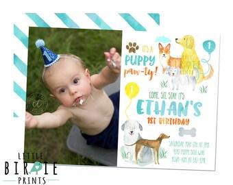 Puppy Dog Birthday Invitation, Watercolor Puppy Birthday Invitation, Dog Birthday Inviation, Dog Invitation, Puppy Pawty Invitation 1st