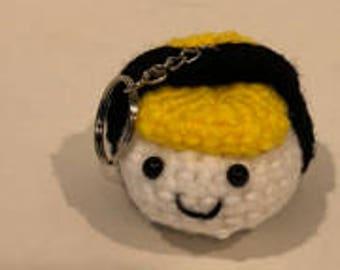 amigurumi tamago sushi key chain, bag charm, egg sushi, handmade, fun gift