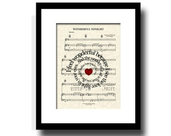 Wonderful Tonight Song Lyric Sheet Music Art Print, Custom Art, Names and Date, Wedding, Anniversary, Music Wall Art