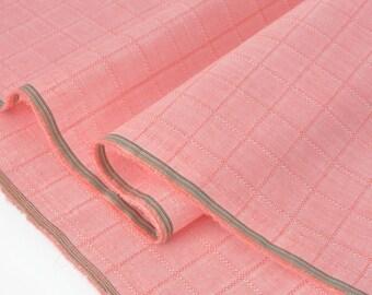 Fabric cotton chambray soft fluid salmon woven Plaid x 50cm