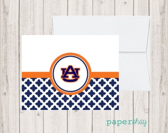 Personalized Stationery, Personalized stationary,  Monogram stationery, Monogram Note Cards, Personalized Notecards, AUBURN