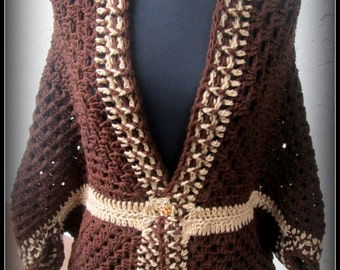 Chic and Sassy Brown and Carmel Cocoon Shrug with Gold and rhinestone button