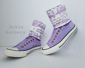 Shoe Spats Toppers Boot Cuffs Anklets Custom Sneakers Charms Socks Leg Warmers Decor Lavender Flower Ankle Warmers Gift for Girl Original