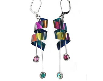 Anodized aluminum sheet and wire earrings with beads, unique and original, multicolor