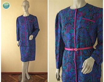 80s Teal Purple Paisley Skirt Suit Paul Mausner Blouse Skirt Vintage Secretary Suit Colorful Top Matching Skirt Medium Large