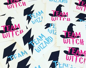Team Wizard and Team Witch Party Stickers - 2 inch stickers -  birthday Parties  - trivia night - gender reveals - Harry Potter party