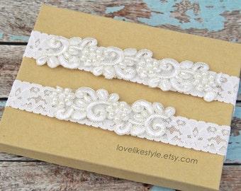 Ivory Pearl Beaded Lace Wedding Garter Set, Ivory Garter Set, Toss Garter , Keepsake Garter / GT- 12