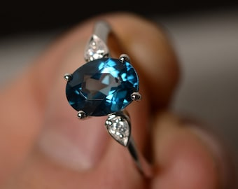 London Blue Topaz Ring Sterling Silver Solitaire Ring