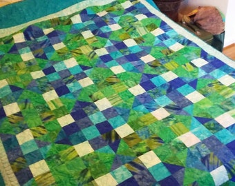 Queen Quilt  Handmade Split 9-patch Blue Green Quiltsy Idaho