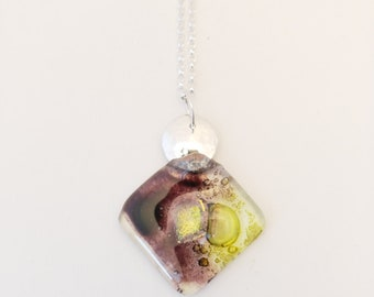 maroon/lime bubble glass pendant