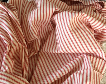 Fabric Red and White Stripe Ticking. 2 Hems One With Buttonholes. Red and White Stripe Ticking Cotton Fabric.