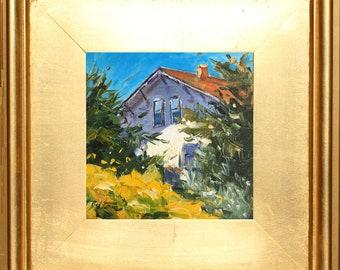 California Farm House Painting, Original Painting, Oil Painting, Landscape Painting, small with Gold Frame,  Small Landscape Painting, CA
