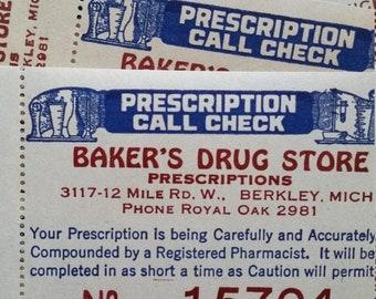 ON SALE Antique Drug Store Pharmacy Prescription Call Checks