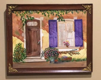 House front scene, door,window, flowers, ivy, art and collectibles, acrylic painting, framed, home decor, wall art