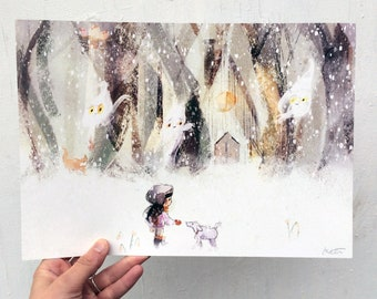 Snow limited edition A4 art print, illustration, wall art