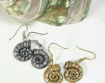 Nautilus Earrings, Shell Earrings, Choice of Silver or Gold, Polymer Clay Shell Earrings, Small Dangle Earrings