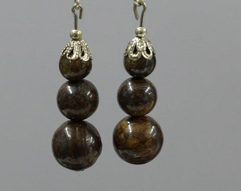 Earrings Bronzite stone in concentration, beads, 6, 8 and 10 mm, alloy frame.
