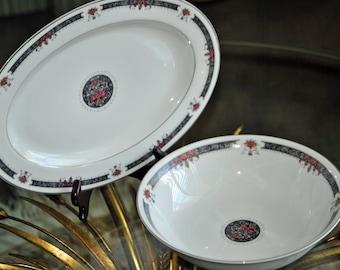 CRESCENT Fine CHINA Platter and Vegetable Bowl by RANMARU - Prestige - Japan