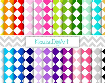 Rainbow and Pastel Diamond Harlequin Digital Printable Papers for Personal and Commercial Use (0043)