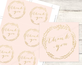 pink gold bridal shower favor tags printable DIY wedding shower favour tags blush pink peach gold glitter thank you cards - INSTANT DOWNLOAD