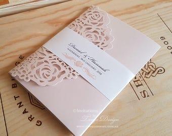Pink laser cut wedding invitation   Blush 5x7 pocket fold invites envelopes   Floral Rose Chic stationery set   Lasercut floral pocketfold