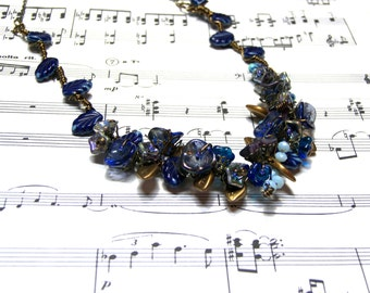 Blue Floral Leaf Necklace Victorian Flower Necklace Top Selling Jewelry Popular Jewelry Gifts for Women Flower Necklace
