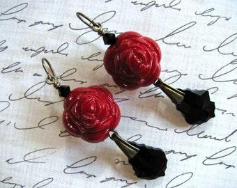 Red Rose Earrings, Valentine Earrings, Swarovski Earrings, Red Earrings, Black Earrings, Rose Earrings, Lucite Earrings, Dangle Earrings