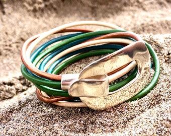 leather bracelet, silver bracelet, modern bracelet, woman bracelet, silver and leather bracelet, leather and silver bracelet