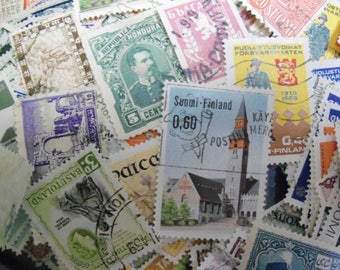 50 World Wide Stamps, Postage Stamps, Vintage Stamps, Used Stamps