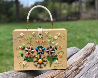 Enid Collins of Texas, The Original Box Bag, Flower Cart,  Jeweled Bag, 1960s Vintage Handbag, Box Purse, wooden purse, wood bag, purse