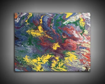 Oil Rain - Large Abstract Acrylic Canvas Painting