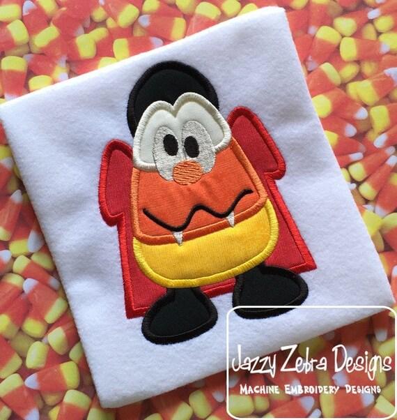 Dracula Candy Corn 110 Applique Embroidery Design - Halloween appliqué design - Candy corn appliqué design - dracula applique design