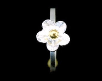 Sil-RJ-005 Handmade 1 flower sterling silver yellow gold plated stacking rings