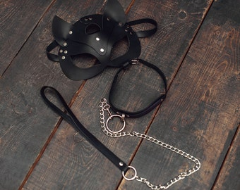 Set of leather bdsm accessories - Leather Cat Mask and leather collar with a lead