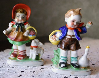 Vintage Occupied Japanese  Boy and Girl Figurines, Girl with Lamb, Boy with Goose